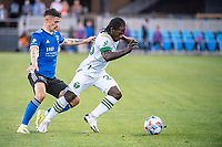 SAN JOSE, CA - MAY 15: Yimmi Chara #23 of the Portland Timbers dribbles the ball during a game between San Jose Earthquakes and Portland Timbers at PayPal Park on May 15, 2021 in San Jose, California.