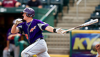 Chris Pearson (20) of the Evansville Purple Aces follows through his swing during a game against the Missouri State Bears at Hammons Field on May 12, 2012 in Springfield, Missouri. (David Welker/Four Seam Images)