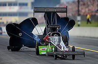 Oct. 6, 2012; Mohnton, PA, USA: NHRA top fuel dragster driver Larry Dixon during qualifying for the Auto Plus Nationals at Maple Grove Raceway. Mandatory Credit: Mark J. Rebilas-