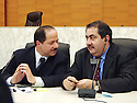France 2002.Conférence de l' opposition kurde irakienne à Paris.Massoud Barzani et Hoshyar Zibari.France 2002.Kurdish Iraki Opposition Conference in Paris.Massoud Barzani and Hoshyar Zibari
