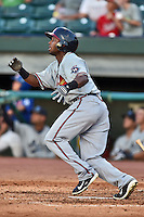 Mississippi Braves center fielder Mycal Jones #14 swings at a pitch during the Southern League All Star game at AT&T Field on June 17, 2014 in Chattanooga, Tennessee. The Southern Division defeated the Northern Division 6-4. (Tony Farlow/Four Seam Images)
