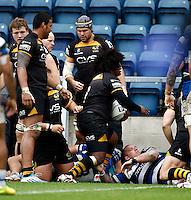Photo: Richard Lane/Richard Lane Photography. London Wasps v Bath Rugby. Amlin Challenge Cup Semi Final. 27/04/2014. Wasps' Ashley Johnson celebrates his try.