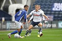 Preston North End's Jayden Stockley closes down Cardiff City's Joe Bennett<br /> <br /> Photographer Mick Walker/CameraSport<br /> <br /> The EFL Sky Bet Championship - Preston North End v Cardiff  City - Saturday 27th June 2020 - Deepdale Stadium - Preston<br /> <br /> World Copyright © 2020 CameraSport. All rights reserved. 43 Linden Ave. Countesthorpe. Leicester. England. LE8 5PG - Tel: +44 (0) 116 277 4147 - admin@camerasport.com - www.camerasport.com
