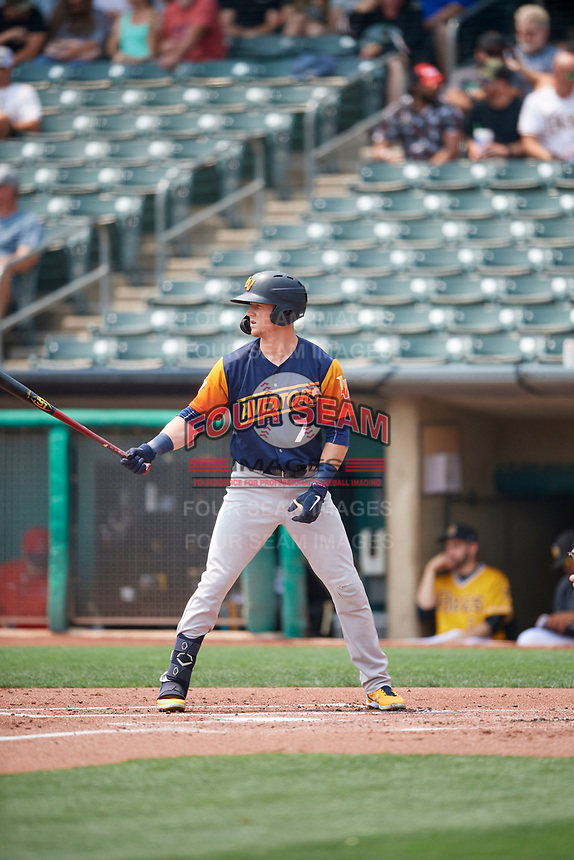 Greg Deichmann (7) of the Las Vegas Aviators at bat against the Salt Lake Bees at Smith's Ballpark on July 25, 2021 in Salt Lake City, Utah. The Aviators defeated the Bees 10-6. (Stephen Smith/Four Seam Images)