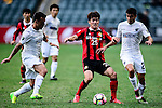 Auckland City Midfielder Clayton Lewis (l) fights for the ball with FC Seoul Midfielder Lee Seok Hyun (c) during the 2017 Lunar New Year Cup match between Auckland City FC (NZL) vs FC Seoul (KOR) on January 28, 2017 in Hong Kong, Hong Kong. Photo by Marcio Rodrigo Machado/Power Sport Images