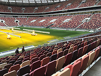 28th August 2017, Moscow, Russia; A view of the Luzhniki Stadium in Moscow, Russia. The Luzhniki is the most important stadium of the football World Cup 2018 in Russia. Since 2013 it has been renovated extensively.