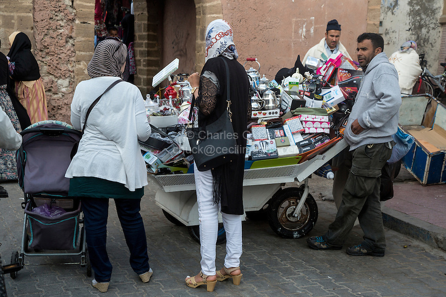 Essaouira, Morocco.  Selling Tea Pots and Sundries in the Street, Avenue de l'Istiqlal.