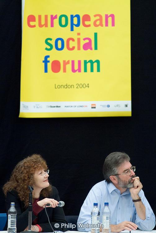 Sinn Fein leader Gerry Adams and Dr Mary Hickman, of London Metropolitan University, in an Ireland seminar at the European Social Forum in Alexandra Palace, London