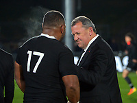 New Zealand coach Ian Foster chats with New Zealand's George Bower after the Steinlager Series rugby match between the New Zealand All Blacks and Tonga at Mt Smart Stadium in Auckland, New Zealand on Saturday, 3 July 2021. Photo: Dave Lintott / lintottphoto.co.nz