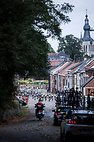 Peloton rolling through Aarschot<br /> <br /> Dwars Door Het Hageland 2020<br /> One Day Race: Aarschot – Diest 180km (UCI 1.1)<br /> Bingoal Cycling Cup 2020