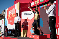 (former) ski-jumper-salute by stage winner and new overall leader Primoz Roglic (SVK/Jumbo-Visma) on the podium<br /> <br /> stage 10 (ITT): Jurançon to Pau (36.2km > in FRANCE)<br /> La Vuelta 2019<br /> <br /> ©kramon