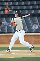Bobby Seymour (3) of the Wake Forest Demon Deacons follows through on his swing against the Virginia Cavaliers at David F. Couch Ballpark on May 19, 2018 in  Winston-Salem, North Carolina. The Demon Deacons defeated the Cavaliers 18-12. (Brian Westerholt/Four Seam Images)