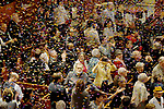 BOSTON, MAY 12: confetti rains down on worshippers at the end of the service to celebrate the 350th anniversary, Sunday, May 12, 2019, at the old South Church in Boston. Jim Michaud / MediaNews Group/Boston Herald)