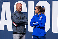 CHICAGO, IL - OCTOBER 5: Ernie Stewart and Carli Lloyd #10 of the United States talk at Soldier Field on October 5, 2019 in Chicago, Illinois.