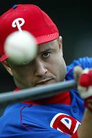 Placido Polanco of the Philadelphia Phillies during a 2003 season MLB game at Dodger Stadium in Los Angeles, California. (Larry Goren/Four Seam Images)