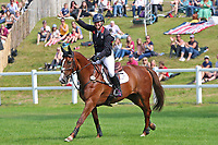 5th September 2021; Bicton Park, East Budleigh Salterton, Budleigh Salterton, United Kingdom: Bicton CCI 5* Equestrian Event; Gemma Tattersall riding Chilli Knight punches the air after winning Bicton 5*
