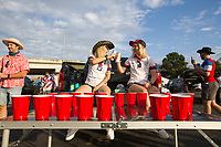 NASHVILLE, TN - SEPTEMBER 5: USA fans cheer at an American Outlaws tailgate before a game between Canada and USMNT at Nissan Stadium on September 5, 2021 in Nashville, Tennessee.