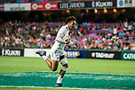 Taiye Ryan Olowofela of England in action during their Pool C match between England and Scotland as part of the HSBC Hong Kong Rugby Sevens 2018 on 06 April 2018, in Hong Kong, Hong Kong. Photo by Marcio Rodrigo Machado / Power Sport Images