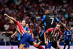 Atletico de Madrid's Diego Godin and Club Brugge's Wesley Moraes during UEFA Champions League match between Atletico de Madrid and Club Brugge at Wanda Metropolitano Stadium in Madrid, Spain. October 03, 2018. (ALTERPHOTOS/A. Perez Meca)