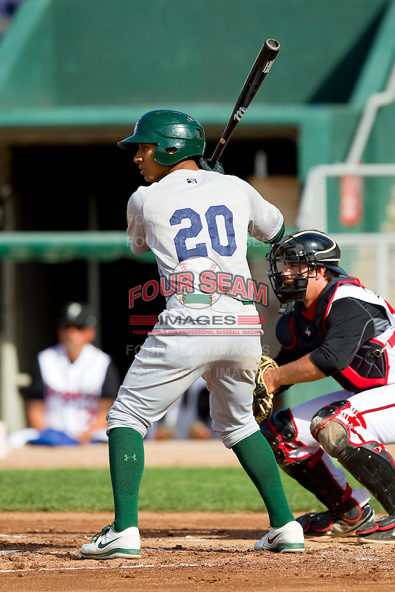 Christopher Bostick (20) of the Beloit Snappers at bat against the Lansing Lugnuts at Cooley Law School Stadium on May 5, 2013 in Lansing, Michigan.  The Lugnuts defeated the Snappers 5-4.  (Brian Westerholt/Four Seam Images)