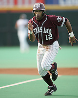 Texas A&M CF Kyle Colligan runs against Texas on May 16th, 2008 in Austin Texas. Photo by Andrew Woolley / Four Seam images...