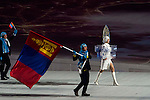 Olympic team of Mongolia during the parade of nations at the Opening ceremony of the 2014 Sochi Olympic Winter Games at Fisht Olympic Stadium on February 7, 2014 in Sochi, Russia. Photo by Victor Fraile / Power Sport Images