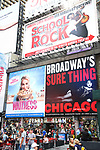 """Times Square Billboard for Betsy Wolf in """"Waitress"""" celebrating 'Sugar, Butter, Flour: The Waitress Pie Cookbook at The Brooks Atkinson Theatre on June 27, 2017 in New York City."""