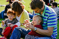 Family having a picnic in a park.