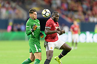 Houston, TX - Thursday July 20, 2017: Ederson Moraes and Romelu Lukaku during a match between Manchester United and Manchester City in the 2017 International Champions Cup at NRG Stadium.