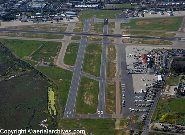 aerial photograph of the Santa Barbara Airport (SBA), Santa Barbara, California