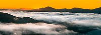 Sunrise over Queen Charlotte Sound covered under fog in Marlborough Sounds, Nelson Region, Marlborough, South Island, New Zealand