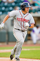 J.P. Ramirez #8 of the Potomac Nationals hustles down the first base line against the Winston-Salem Dash at BB&T Ballpark on June 13, 2012 in Winston-Salem, North Carolina.  The Dash defeated the Nationals 5-3.  (Brian Westerholt/Four Seam Images)