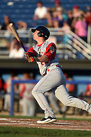 Brooklyn Cyclones designated hitter Jeff Diehl (24) at bat during a game against the Batavia Muckdogs on August 9, 2014 at Dwyer Stadium in Batavia, New York.  Batavia defeated Brooklyn 4-2.  (Mike Janes/Four Seam Images)