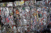 Crushed tin cans at a Haringey Council recycling centre, London.