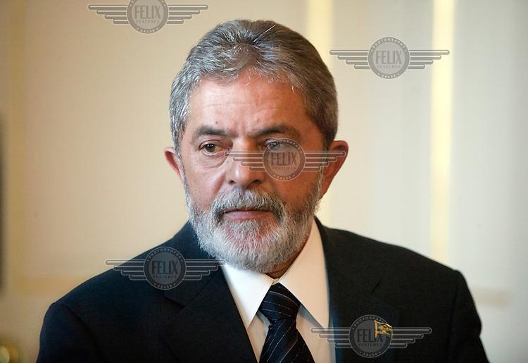 Brazil's President Luiz Inacio Lula da Silva, inside 10 Downing Street, London during a state visit to the UK..