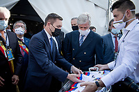 His Royal Highness King Philip of Belgium visiting today's events and meeting with riders and officials backstage<br /> Joined by UCI President David Lappartient<br /> <br /> Mixed Relay TTT <br /> Team Time Trial from Knokke-Heist to Bruges (44.5km)<br /> <br /> UCI Road World Championships - Flanders Belgium 2021<br /> <br /> ©kramon