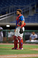 Clearwater Threshers catcher Rodolfo Duran (19) during a Florida State League game against the Tampa Tarpons on April 18, 2019 at Spectrum Field in Clearwater, Florida.  Clearwater defeated Tampa 10-3.  (Mike Janes/Four Seam Images)