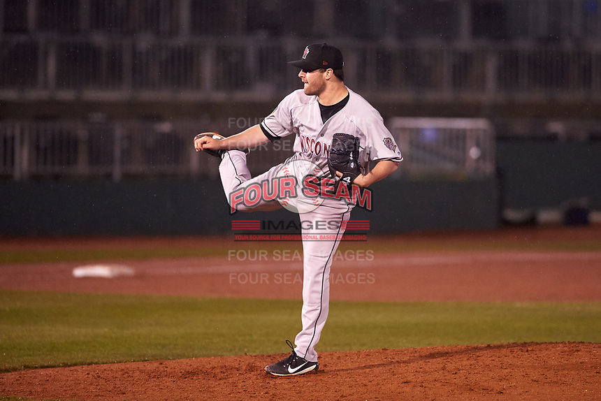 Wisconsin Timber Rattlers relief pitcher Tyler Gillies (32) during a Midwest League game against the Lansing Lugnuts at Cooley Law School Stadium on May 2, 2019 in Lansing, Michigan. Lansing defeated Wisconsin 10-4. (Zachary Lucy/Four Seam Images)