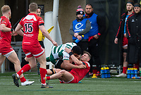 Reon Joseph of Ealing Trailfinders is tackled by George Spencer of Jersey Reds during the Championship Cup Quarter final match between Ealing Trailfinders and Jersey Reds at Castle Bar , West Ealing , England  on 22 February 2020. Photo by Alan  Stanford / PRiME Media Images.