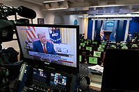United States President Donald Trump reads a a pre-recorded statement on recent and possible future political violence, January 13, 2021, seen on a monitor in the White House Briefing Room in Washington, DC. Credit: Chris Kleponis / Pool via CNP /MediaPunch