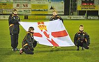 UEFA Women's Euro Qualifying group stage (Group 3) -  KFC Dessel - Armand Melis Stadion : BELGIUM -Northern Ireland ( Belgie - Noord Ierland ) : Flag Vlag Noord Ierland..foto DAVID CATRY / Vrouwenteam.be / Loft6.be