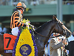 LITTLE MIKE, ridden by Ramon Dominguez and trained by Dale Romans, wins the Breeders' Cup Turf at Santa Anita Park in Arcadia, California on November 3, 2012 over POINT OF ENTRY, ridden by John Velazquez and trained by Shug McGaughey,
