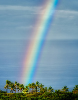 Rain storm with rainbow. Kohala Coast. Hawaii, the big island. The Island of Hawaii