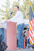 Donald Trump, Jr., son of president Donald Trump and a rising Republican political star, speaks at an outdoor campaign rally at The Lobster Trap in North Conway, New Hampshire, on Thu., Sept. 24, 2020.