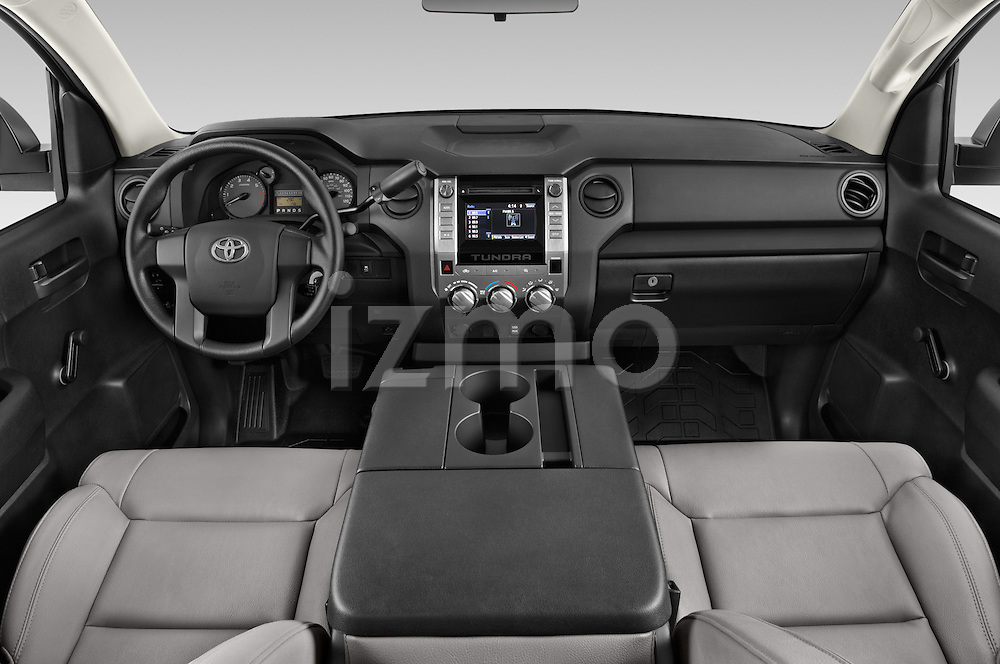 Stock photo of straight dashboard view of a 2017 Toyota Tundra 5.7 Auto SR Regular Cab 2 Door Truck Dashboard