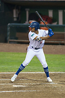 Ogden Raptors designated hitter Daniel Robinson (50) at bat during a Pioneer League game against the Great Falls Voyagers at Lindquist Field on August 23, 2018 in Ogden, Utah. The Ogden Raptors defeated the Great Falls Voyagers by a score of 8-7. (Zachary Lucy/Four Seam Images)