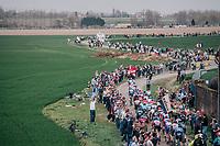 peloton entering sector 13<br /> <br /> 116th Paris-Roubaix (1.UWT)<br /> 1 Day Race. Compiègne - Roubaix (257km)