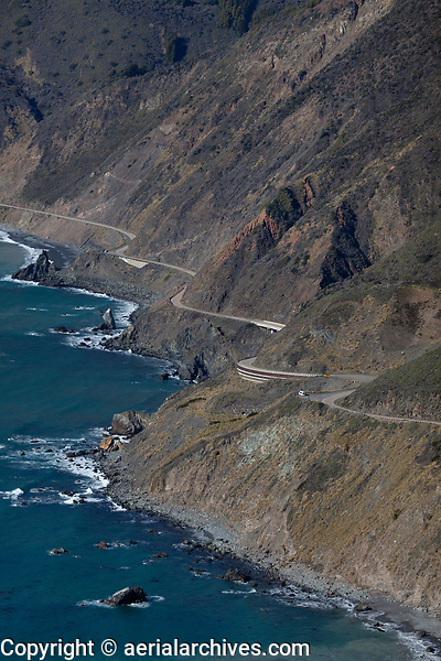 aerial photograph of Highway 1, Big Sur, Monterey County, California
