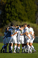 31 October 2007: The University of Vermont Catamounts Men's Soccer Team huddle prior to a game against the University of Binghamton Bearcats at Historic Centennial Field in Burlington, Vermont. The Catamounts shut out the visiting Bearcats 2-0...Mandatory Photo Credit: Ed Wolfstein Photo
