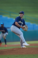 Starting pitcher Carter Holton (18) of Benedictine Military in Guyton, GA playing for the Milwaukee Brewers scout team during the East Coast Pro Showcase at the Hoover Met Complex on August 4, 2020 in Hoover, AL. (Brian Westerholt/Four Seam Images)
